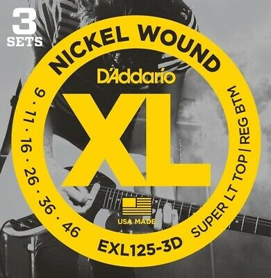 D'Addario EXL125-3D Nickel Wound Electric Guitar Strings, Super Light Top/Regula