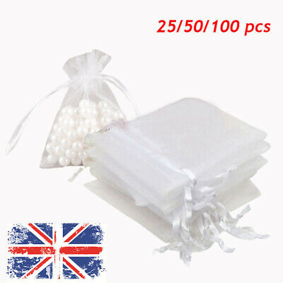 25/50/100X Large Organza Favour Pouches Gift Bag Voile Net Bags Drawstring UK fi