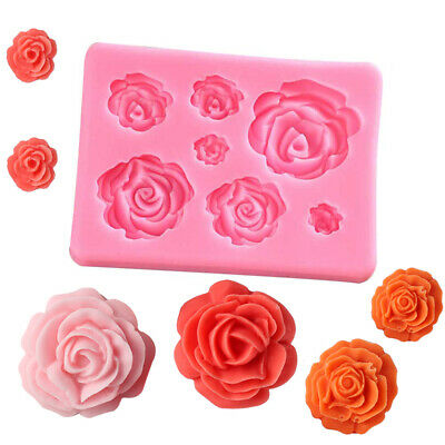 1x 3D Silicone Mold Cake Decor Tools Rose Flowers Mould for Soap Candy Chocolate