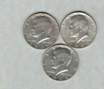 Usa 1964/1967 & 1969D Kennedy Silver Half Dollars In Near Mint Condition