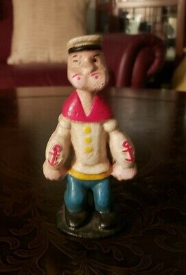 "Vintage Cast Iron Popeye the Sailor Bank - 6"" Tall"