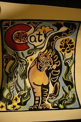 walter anderson silk screen print cat  8 by 10 size numbered on back 1997