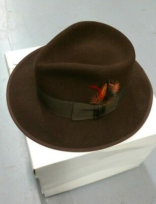 Mallory by Stetson Fedora Hat sz 7 1 4 coffee Wool Feather Hancock Vintage a631e29d2c6