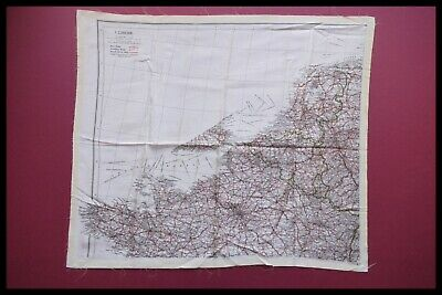 WWII Pilots RAF Silk Escape and Evasion Map Single Sided, France, D-DAY 1940's