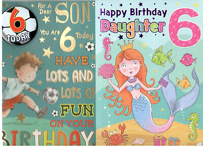 6 Year Old Birthday Card For SonDaughterGranddaughter