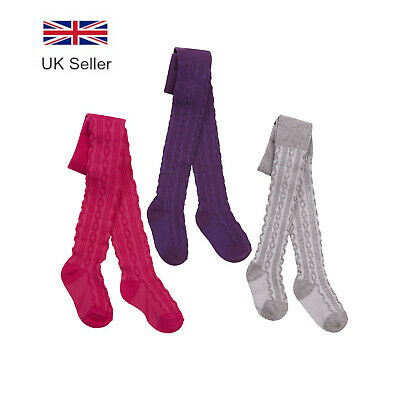 Baby Girls Tights - Cotton Cable Knit Socks, 0-24 Months by Tick Tock
