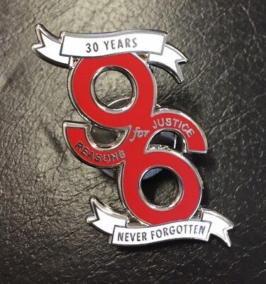 30 Years Never Forgotten, 96 Reason For Justice- Red Enamel Pin Badge