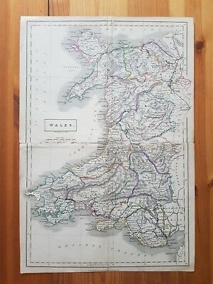 19th Century Engraving Map Of WALES Chapman & HALL