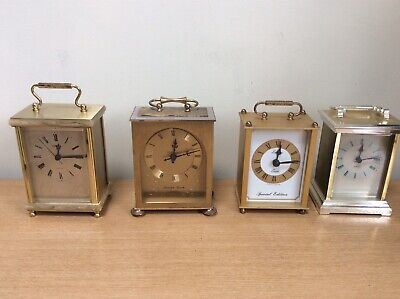 Job Lot Of 7 Vintage Carriage Clocks 4 Working Order Includes Smiths & President