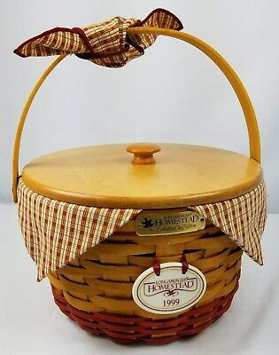 Longaberger CC 1999 Homestead Basket Combo with Wood Lid - Red Accents