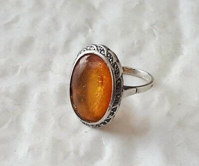 Imperial Russian 84 Silver Ring with Amber Faberge design