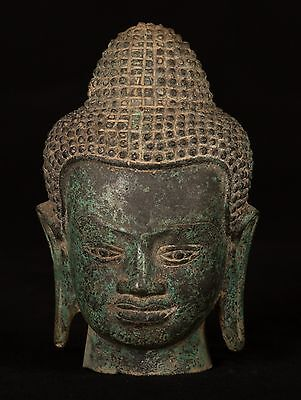 19th Century Antique Southeast Asia Thai Bronze Buddha Head Statue - 17cm/7""