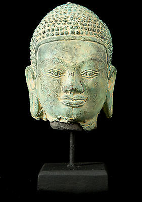 19th Century Antique Southeast Asia Thai Bronze Buddha Head Statue - 21cm/8""