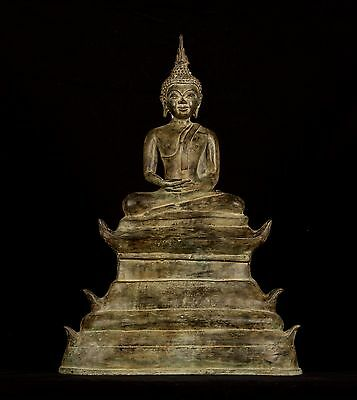 Large Antique 19th Century SE Asia Laos Meditation Buddha Statue - 55cm/22""