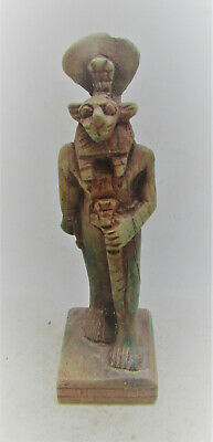 Beautiful Ancient Egyptian Glazed Faience Statuette Of Ra