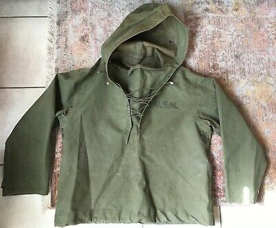 VTG 1940's WW2 WWII USN US Navy Green Parka Wet-Weather Lace Up Pullover Size S