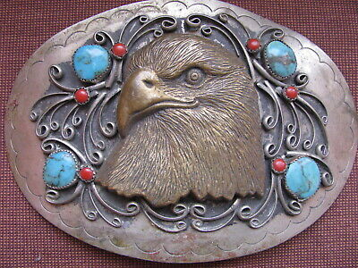 HUGE VINTAGE NAVAJO BRASS EAGLE TURQUOISE CORAL BELT BUCKLE signed circa 70s JE1