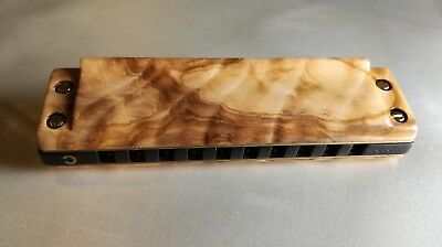Harmonica custom in Olive wood and comb in Blackwood. Marine Band Deluxe key C