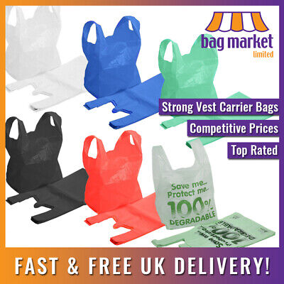 Strong Plastic Carrier Bags! | Blue/White/Black/Green/Red | Shopping/Supermarket