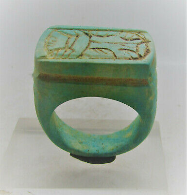 Beautiful Egyptian Glazed Faience Ring With Cartouche