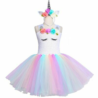 Girls Kids Casual Holiday Party Birthday Unicorn Fancy Dress  ZG