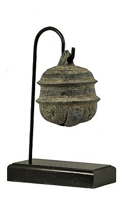 """Antique Khmer Style Bronze Mounted Bell - 30.5cm/12"""""""