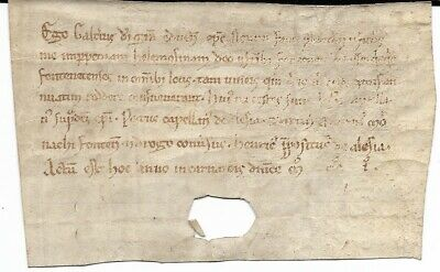 Small Vellum Medieval Document, Dated 1201