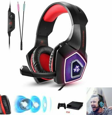 Casque de jeu Gamer Gaming MIC Basse Stéréo LED pour Laptop PC Mac PS4 Xbox One