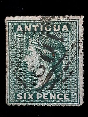 Antigua 1863 Queen Victoria Six Pence Postage Stamp - Used