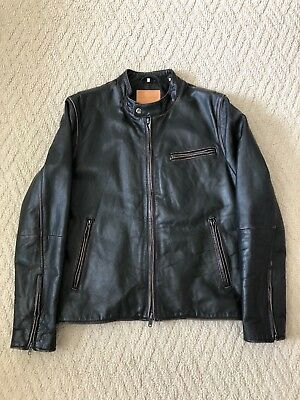 d3e88209a LEVI'S MADE & Crafted Moto Black Leather Jacket Size 3/Large Made In ...