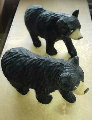 2 X Carved Black Forest Standing Bears.