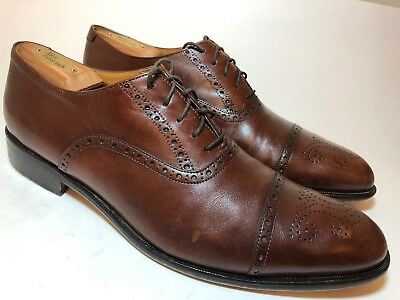 37e2b241a60 JOHN W NORDSTROM Mens 12 M Brown Leather Wing Tips Dress Shoes Vintage Italy