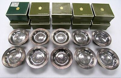Christofle Gallia France Silver Plate 10 Individual Butter Dishes Pierced Top