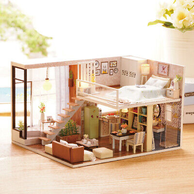 DIY Miniature Loft Dollhouse Kit Realistic Mini 3D Wooden House Room Toy O1X6