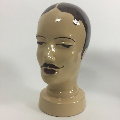 vintage pottery head barber shop mannequin curio prop hipster hat wig stand hair
