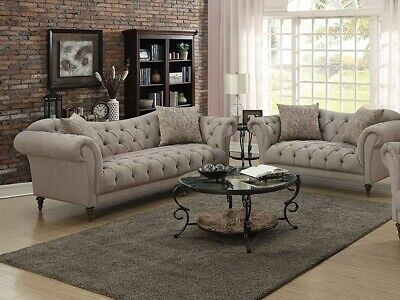 2Pc Traditional Design Light Brown Color Sofa Loveseat Set Living Room Cushion