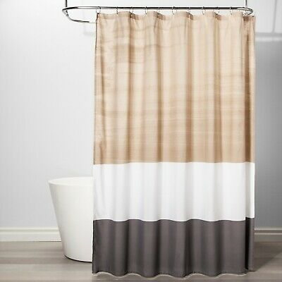 NEW Room Essentials Colorblock Shower Curtain Beige Tan White Gray Neutral