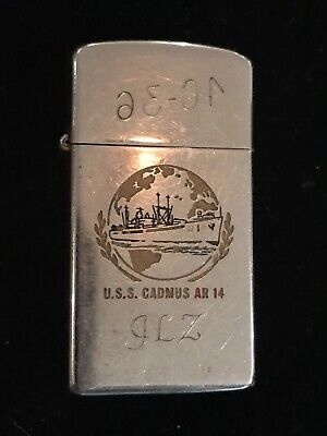 Vintage WWII USS CADMUS AR-14 Slim Zippo Tobacco Lighter W/Pin-Up Girl