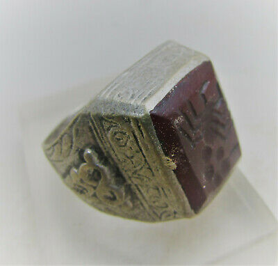 Superb Post Medieval Islamic Silvered Ring With Carnelian Stone Intaglio