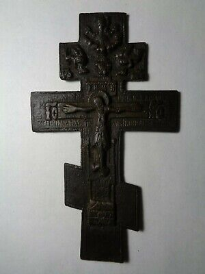 Russian Empire ancient orthodox bronze large icon cross 1800s original 102