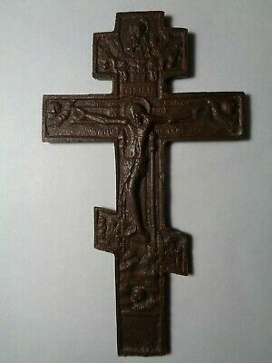 Russian Empire ancient orthodox bronze large icon cross 1800s original 103