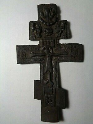 Russian Empire ancient orthodox bronze large icon cross 1800s original 105