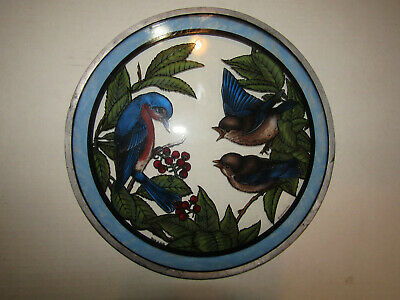 """Glass Masters Stained Glass Blue Birds 10"""" Dia."""