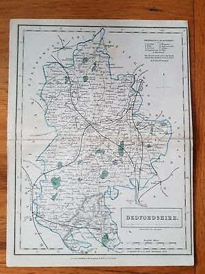 19th Century Engraving Map Of Bedfordshire CHAPMAN & HALL