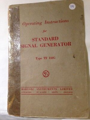 Operating Instructions for Vintage Marconi VHF Signal Generator TF144G