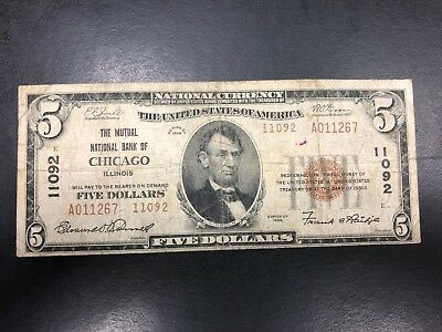 1929 Note Type 1 Brown Seal - $5 The Mutual National Bank Of Chicago IL