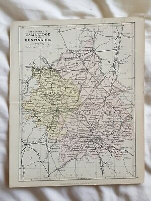 19th century engraving map of Cambridge & Huntingdon G Philip