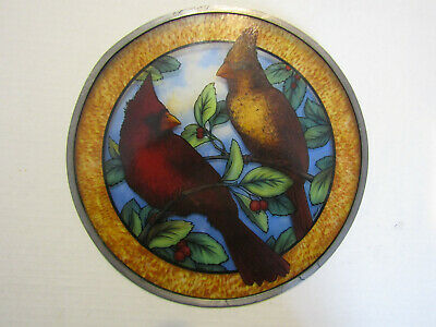 Vintage 1988 Glass Masters Stained Glass Cardinals 10 in. Dia.