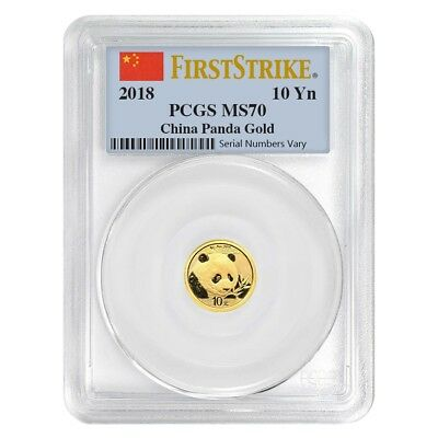 2018 1 Gram Chinese Gold Panda 10 Yuan PCGS MS 70 First Strike
