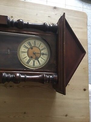 Large Antique Double Weight Vienna Wall Clock With Brass Weights & Key
